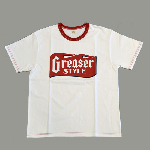 GREASER STYLE  SHORT SLEEVE T−SHIRT ホワイト